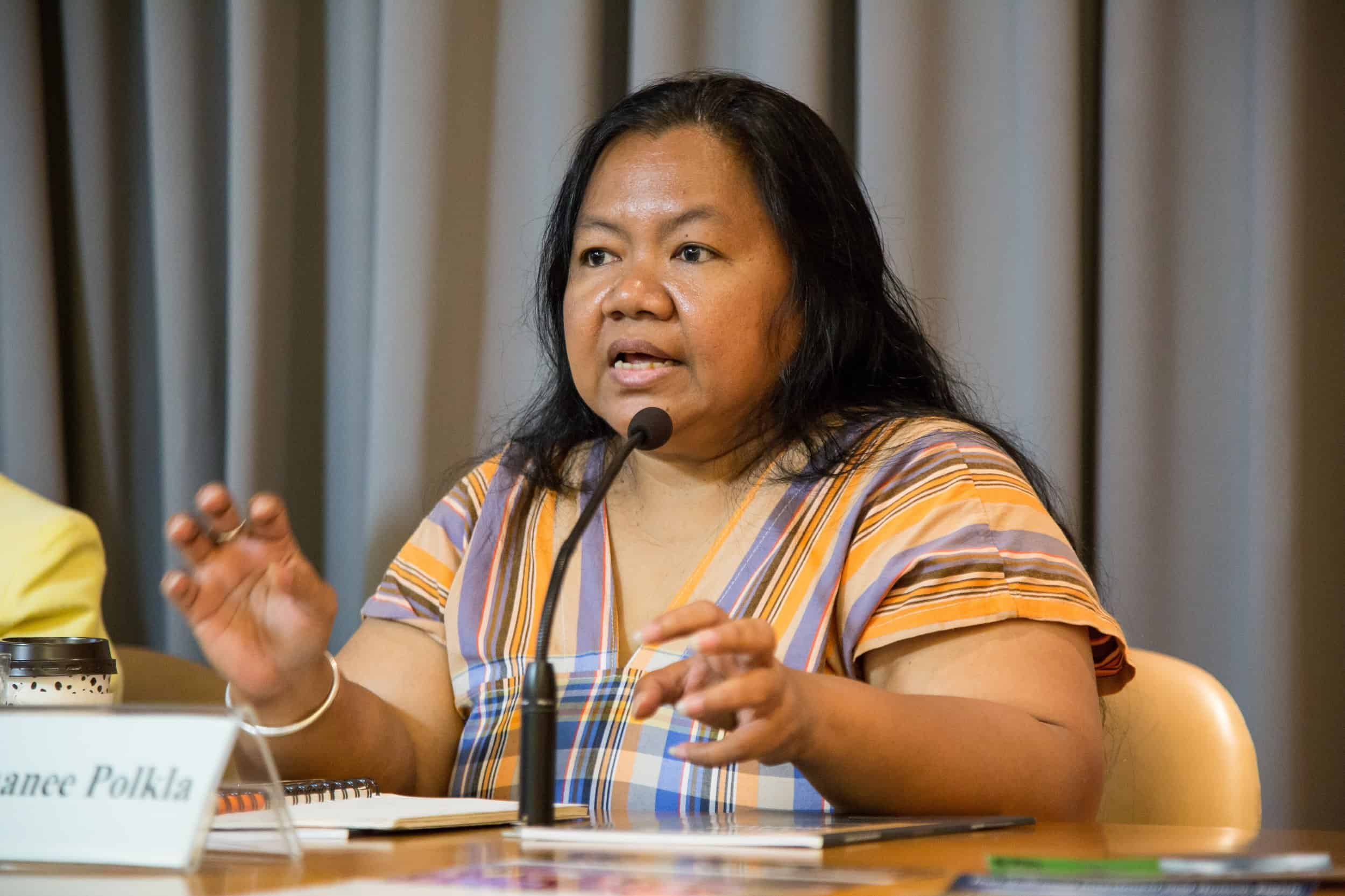 Sor Rattanamanee Polkla, Executive Coordinator of the Community Resource Centre Foundation, speaks about the need for binding legislation to regulate Thai corporations.
