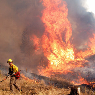 Boulder Rural firefighter Troy Shipley retreats to a safe zone as a group of trees torch behind him during the Overland Fire outside Jamestown, Colorado, on Wednesday, Oct. 29, 2003.