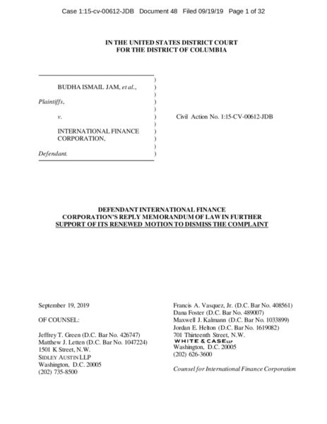 thumbnail of (District Court) IFC Reply Brief in Support of Renewed Motion to Dismiss – September 2019