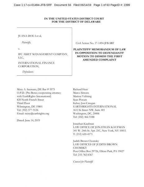 thumbnail of Juana Doe et al v. IFC AMC et al. Opp Brief to MTD