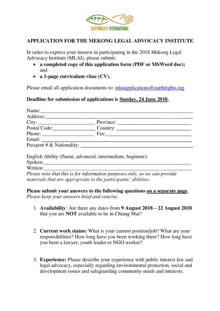 Mlai 2018 Application Form Draft Agenda Earthrights International
