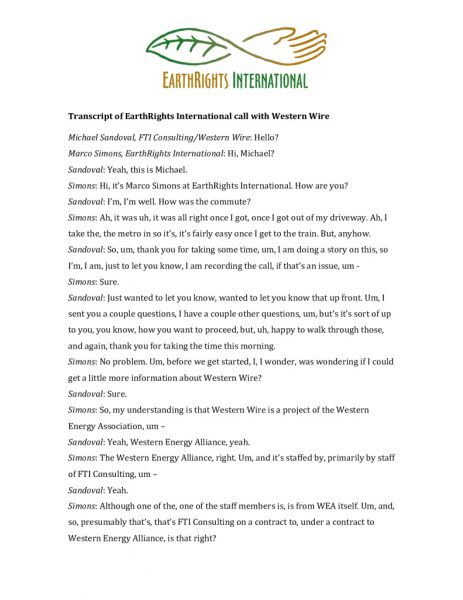 thumbnail of Transcript of EarthRights International call with Western Wire