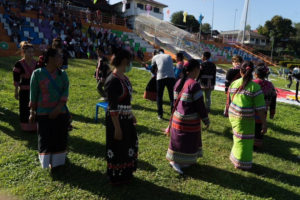 An indigenous Lahu group from Song Pi Nong Village performing a traditional for New Year's celebration dance.