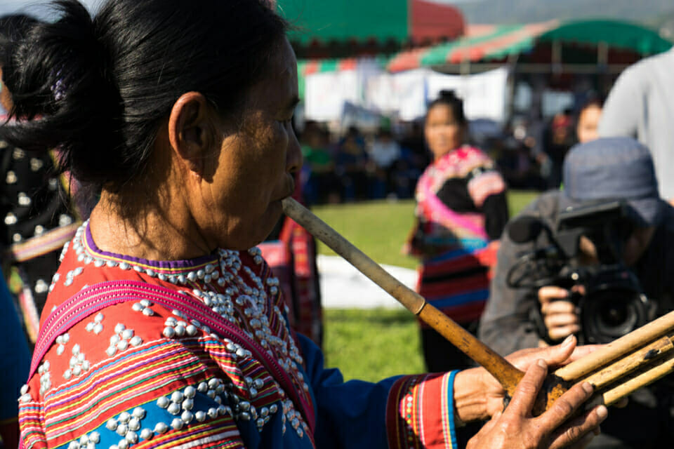 Traditional Lahu instrument. Lahu are one of the highland indigenous groups of Thailand.
