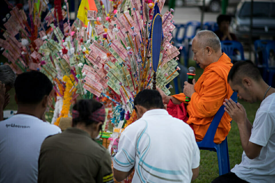 A monk from Chiang Khong in a Phapa ceremony. In Thai traditions a monk blesses donations during the Phapa ceremony.