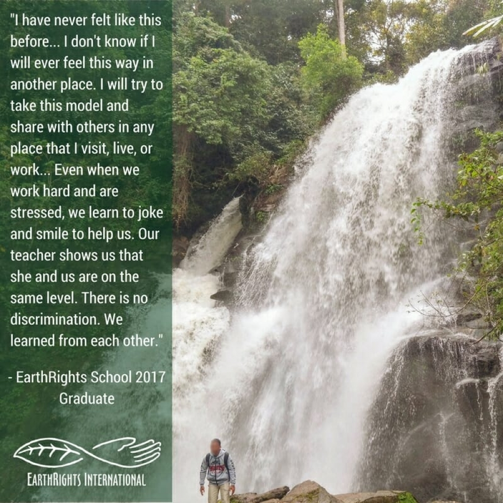 An EarthRights School 2017 graduate on a field trip in northern Thailand.