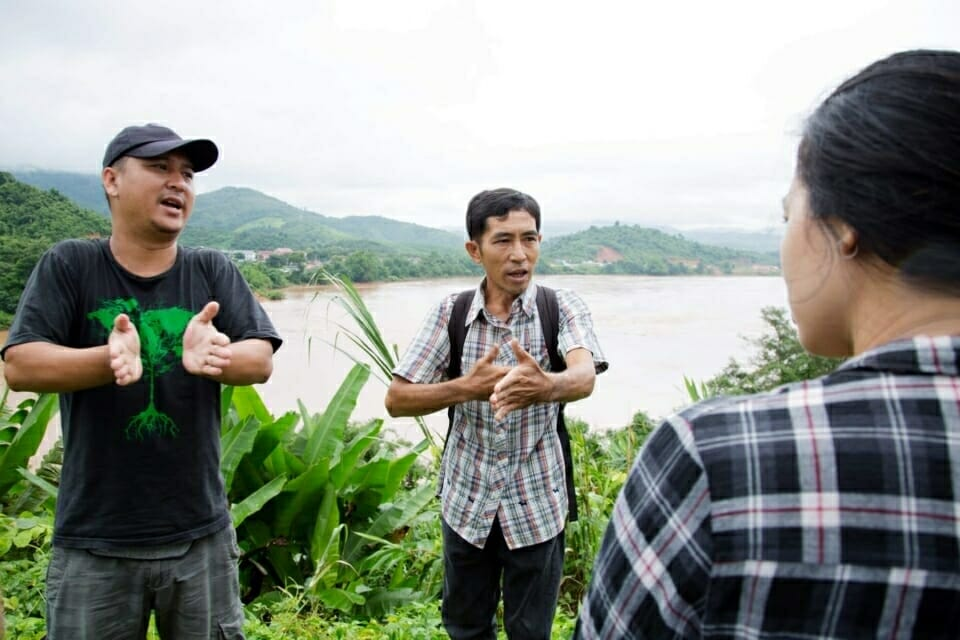 Jeerasak Inthayod, a member of Rak Chiang Khong, and Neung, ERI Mekong Legal Associate, explains how the Khon Pi Luang rapid is very important for local people's livelihoods. Jeerasak described how Khon Pi Luang marks a narrow section of the Mekong River, well-known among local fishermen as a place where giant catfish lay their eggs. In dry season, local people collect kai – an eatable river weed that provides a vital source of income for many families.
