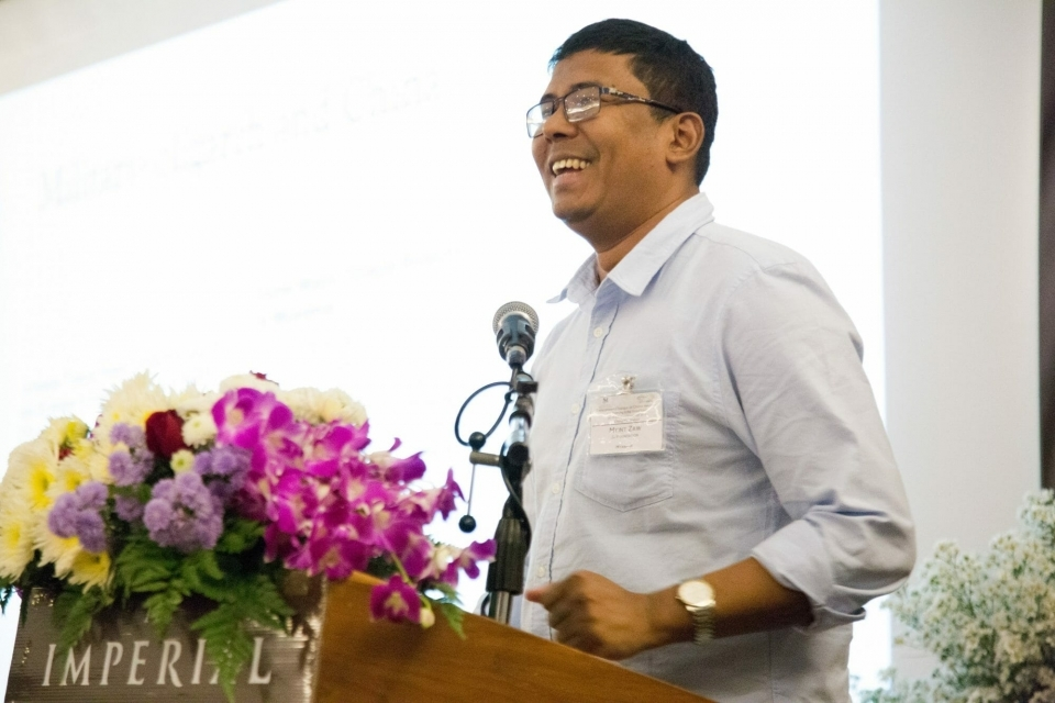 Myint Zaw, Co-Founder and Program Manager at the Ju Foundation, presents on social impacts and challenges related to Chinese investment in Myanmar.
