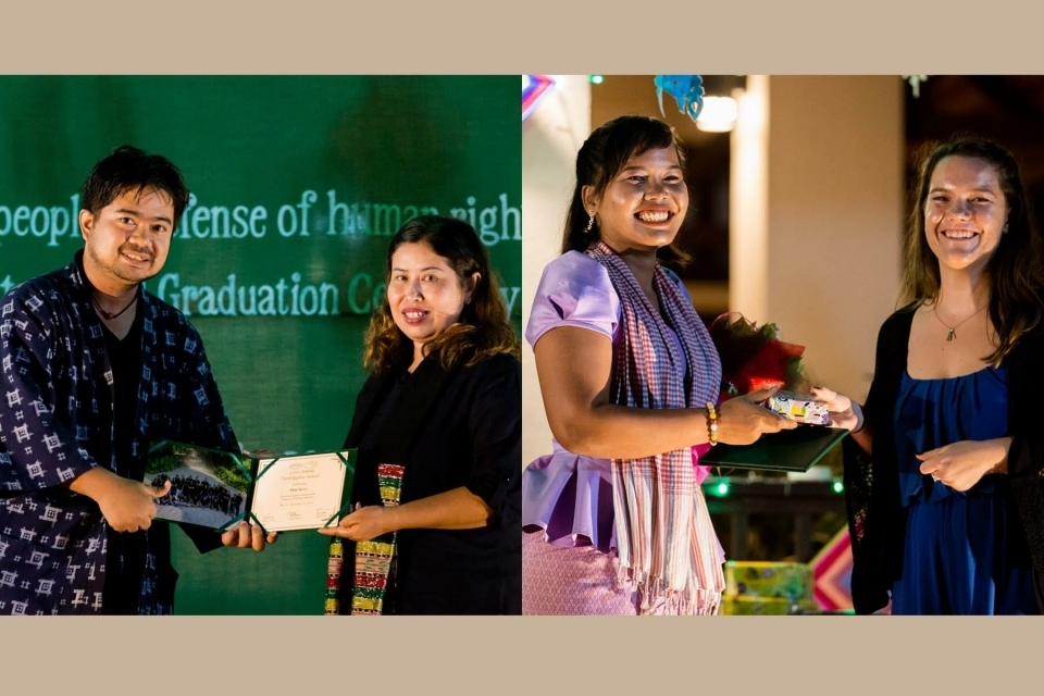 EarthRights School students receive diplomas from the EarthRights School training team.