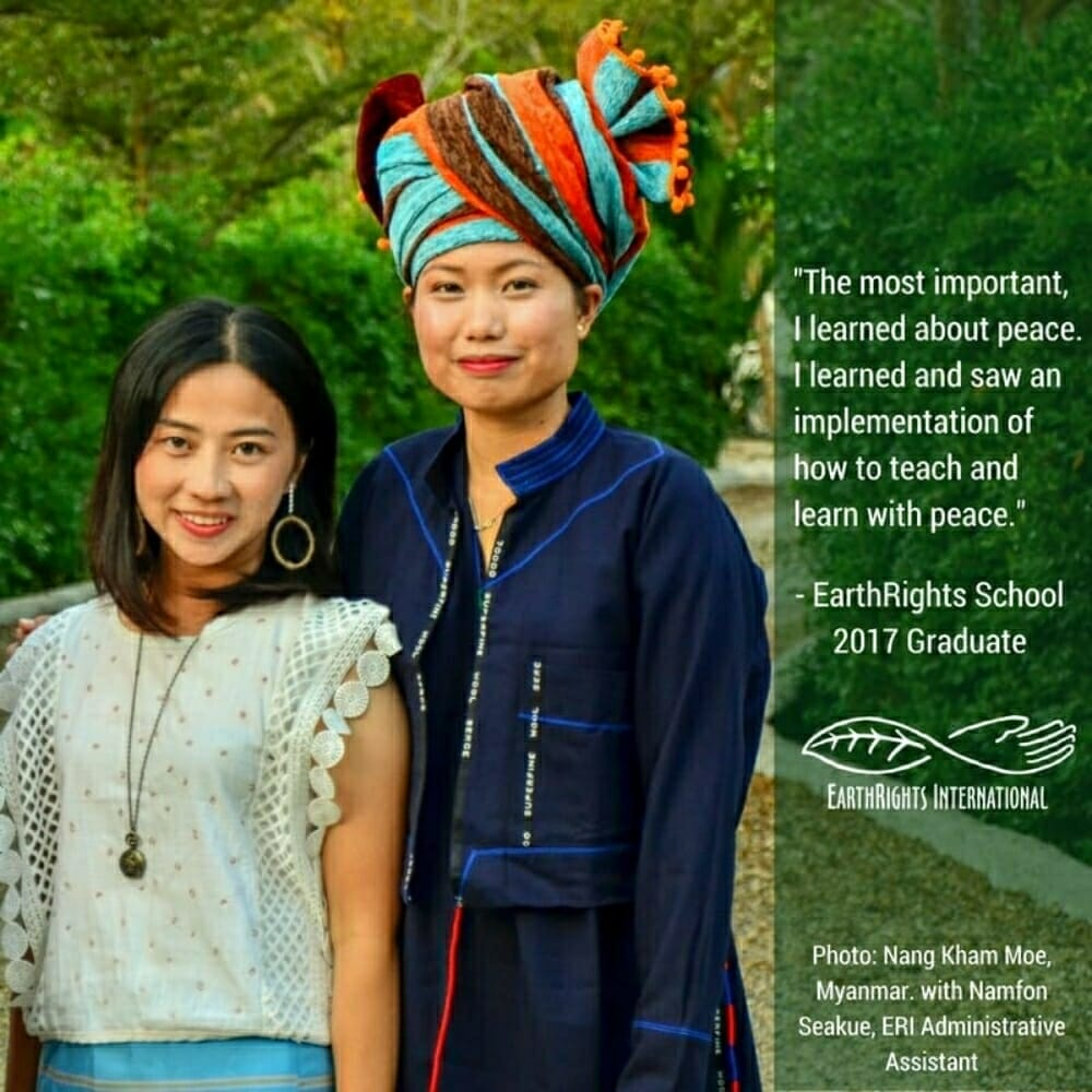 Nang Kham Moe, an EarthRights School 2017 graduate from Myanmar with ERI Administrative Assistant Namfon Seakue during the graduation ceremony at the Mitharsuu Center.