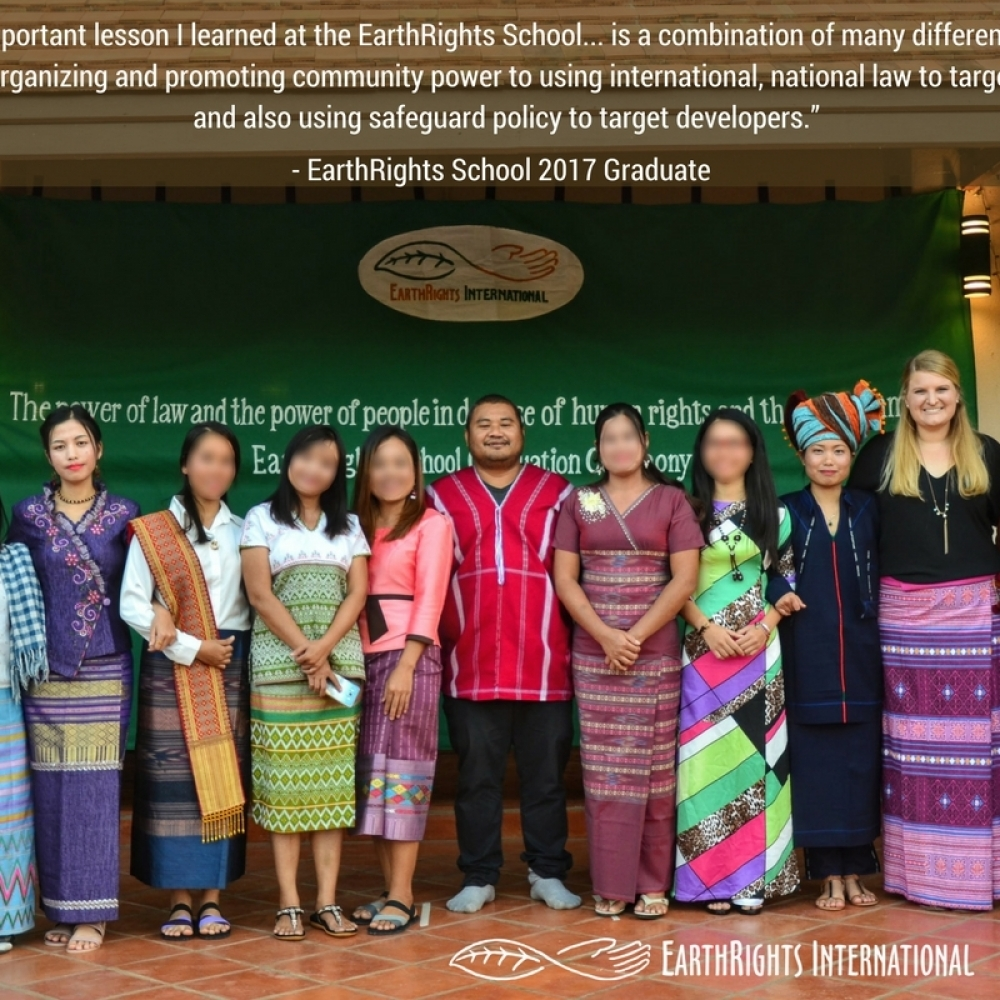 EarthRights School 2017 graduates during their graduation ceremony at the Mitharsuu Center for Leadership and Justice.