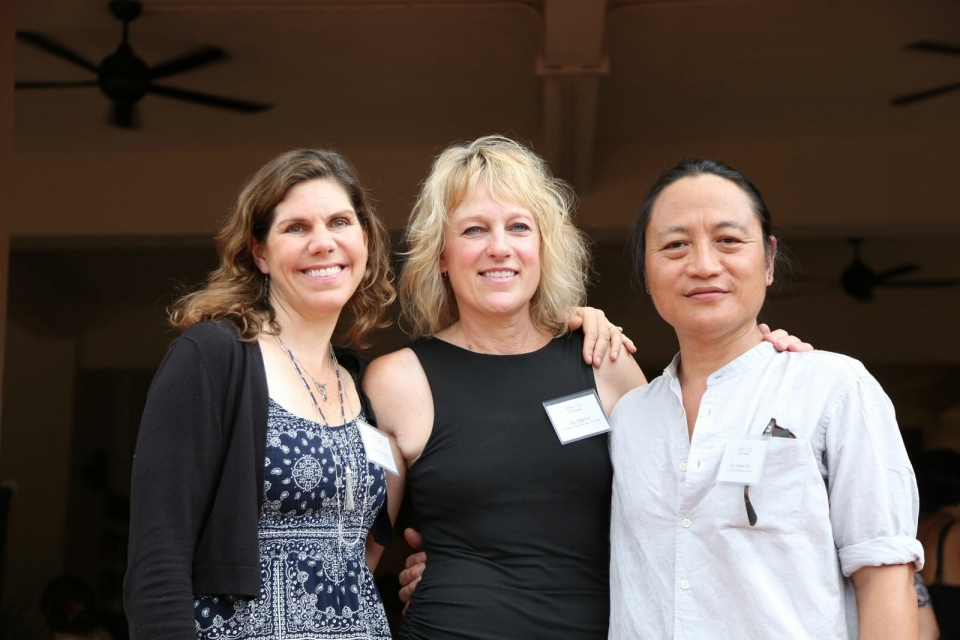 Katie and Ka Hsaw Wa with Joy Adams, who played an instrumental role in the development of the Mitharsuu Center.