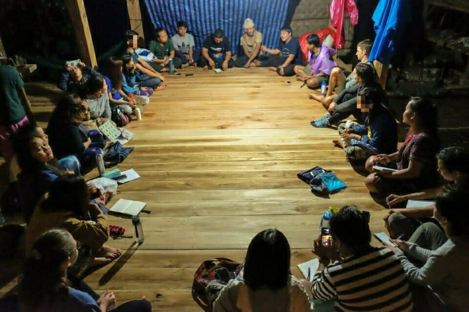 At night, EarthRights School students spoke with Prue Odochao, a Karen indigenous activist who once walked 700 km from Chiang Mai to Bangkok to collect signatures calling for a new community land law for Thailand.