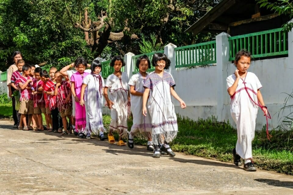 In Ban Nong Tao village, EarthRights School students heard indigenous community members discuss how the Thai school system has required them to spend money on Western-style uniforms for their children - a difficult burden in a subsistence community. Today, their children are sometimes allowed to wear their traditional Karen clothing, pictured here.