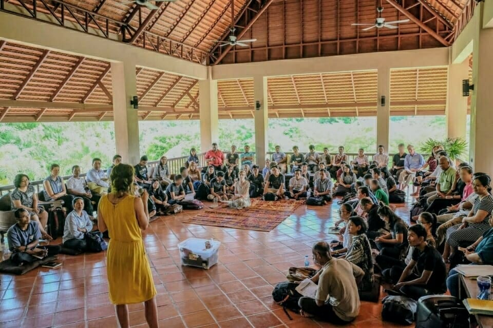 In late August, the Forest Defenders Conference brought together 50 human and environmental rights activists from 10 countries, most in Southeast Asia, to develop strategies for protecting earth rights defenders. The conference was organized by EarthRights International, Not1More, and Cambodian Youth Network. Here, Fran Lambrick of Not1More welcomes the group to the first workshop of the conference.