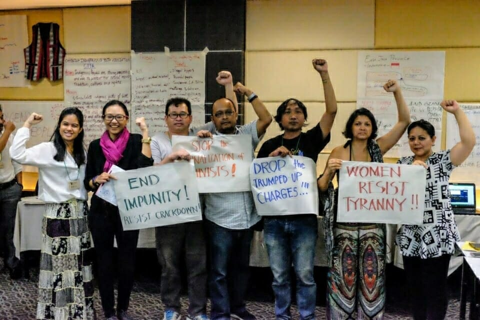 The conference provided spaces to discuss common issues facing earth rights defenders across the region, such as violence, repression, and criminalization. Beverly Longid, at right, of the Philippines, has been placed on a list of terrorists by her government's Department of Justice, along with many other indigenous peoples' rights activists in her country.
