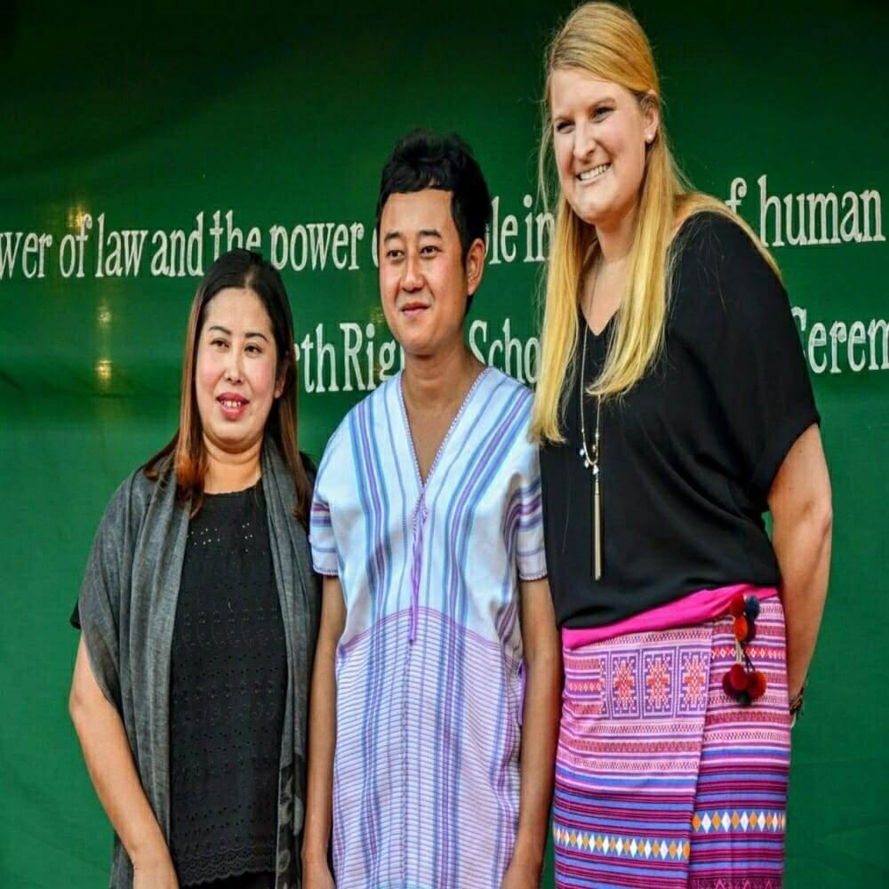Suwat Samajitobom, an EarthRights School 2017 graduate from Thailand, with EarthRights School Coordinator Khin Nanda (left) and EarthRights School Teacher Sara Stiehl (right) during the graduation ceremony at the Mitharsuu Center.