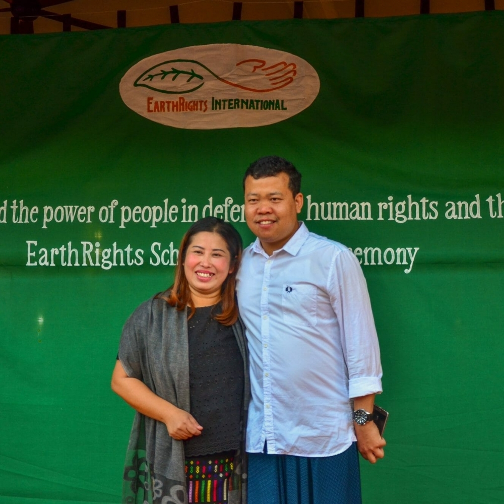 Worawuth Tamee, an EarthRights School 2017 graduate from Thailand, with EarthRights School Coordinator Khin Nanda (left) during the graduation ceremony at the Mitharsuu Center.