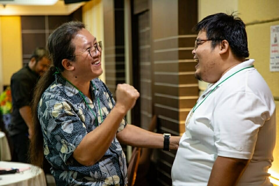Paul Sein Twa from the Karen Environmental and Social Action Network talks with Tom Weerachat from International Accountability Project. The Forest Defenders Conference also helped activists who are engaged in a broad range of issues to focus specifically on strategies to protect and support earth rights defenders.