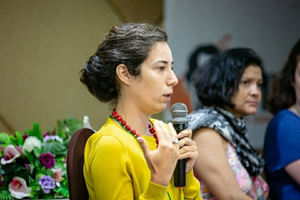 Selen Çatalyürekli from Turkey speaks on a panel at the Forest Defenders Conference with Claudelice Silva dos Santos from Brazil. Selen is a videographer who works to support communities such as those in Turkey's Artvin-Cerattepe area who face negative impacts from copper and gold mining. Silva dos Santos, whose sister and brother-in-law were killed as a result of their fight against illegal logging, also joined last year's Forest Defenders Conference, organized by Not1More and held in Oxford, United Kingdom.
