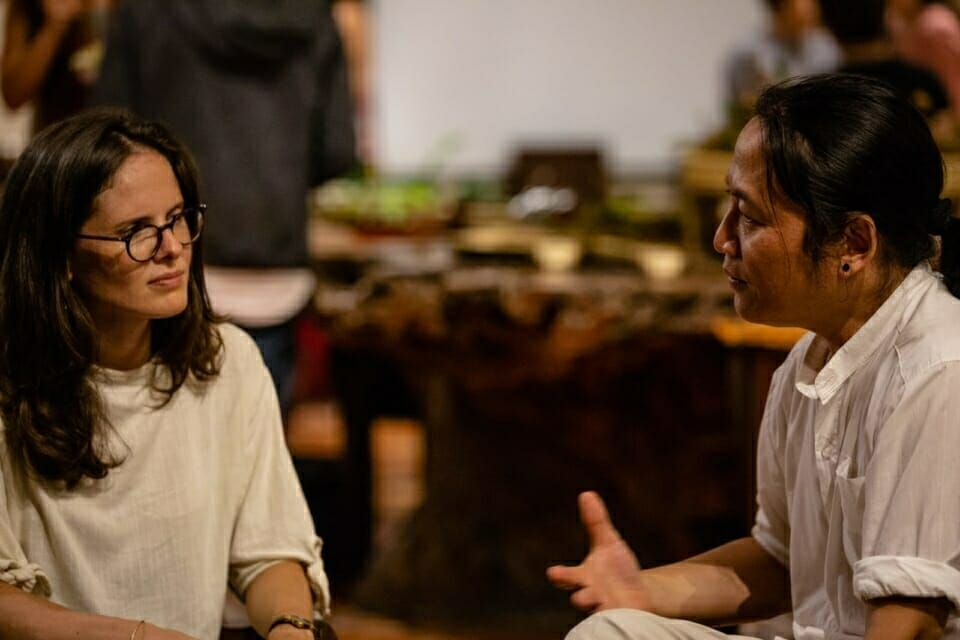 EarthRights International Co-Founder and Executive Director Ka Hsaw Wa speaks with Eméline Pluchon of UN Environment. The Forest Defenders Conference helped donor organizations and other supporters to connect directly with and learn from at risk earth rights defenders working on the ground.