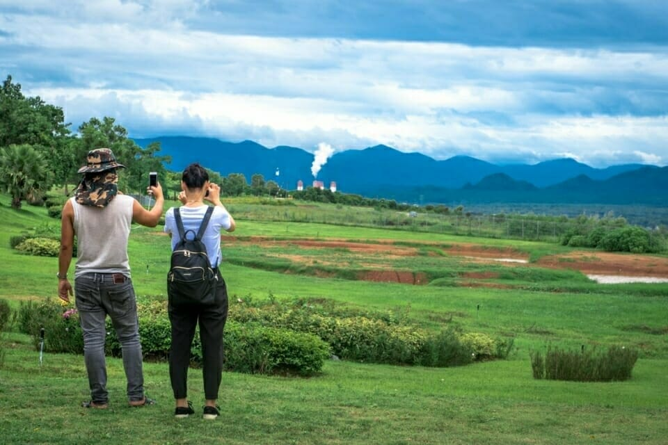 EarthRights School students photograph the pollution from the Mae Moh coal-fired power plant in Thailand.