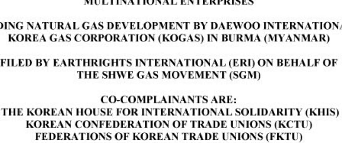 Report to the South Korea National Contact Point Regarding Daewoo International and Korea Gas Corporation