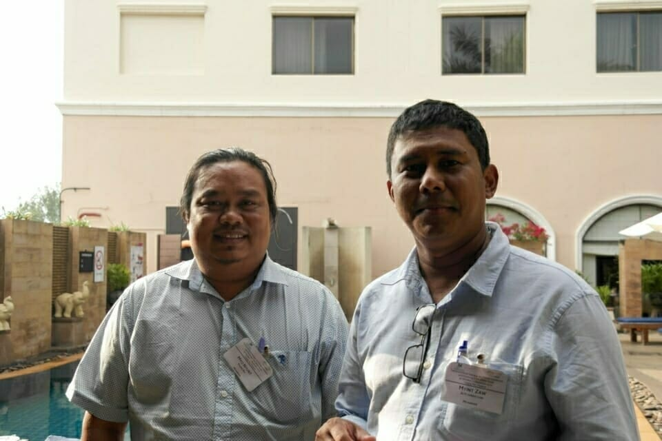 Myint Zaw, Co-Founder and Program Manager at the Ju Foundation, with Myo Nyunt, Program Coordinator at Paung Ku.