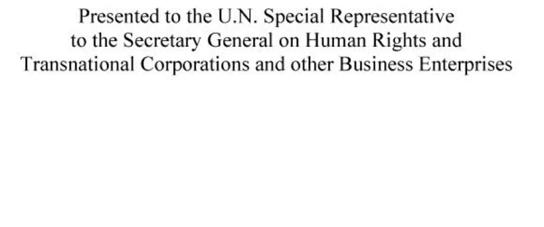 UNSRSG – The International Law Standard for Corporate Aiding and Abetting Liability