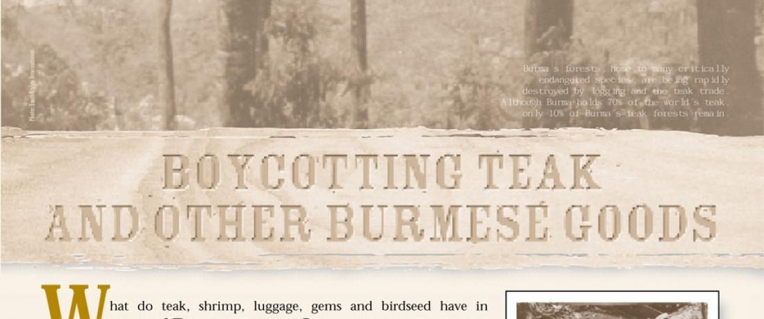 Boycotting Teak and Other Burmese Goods
