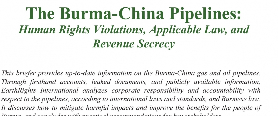 The Burma-China Pipelines
