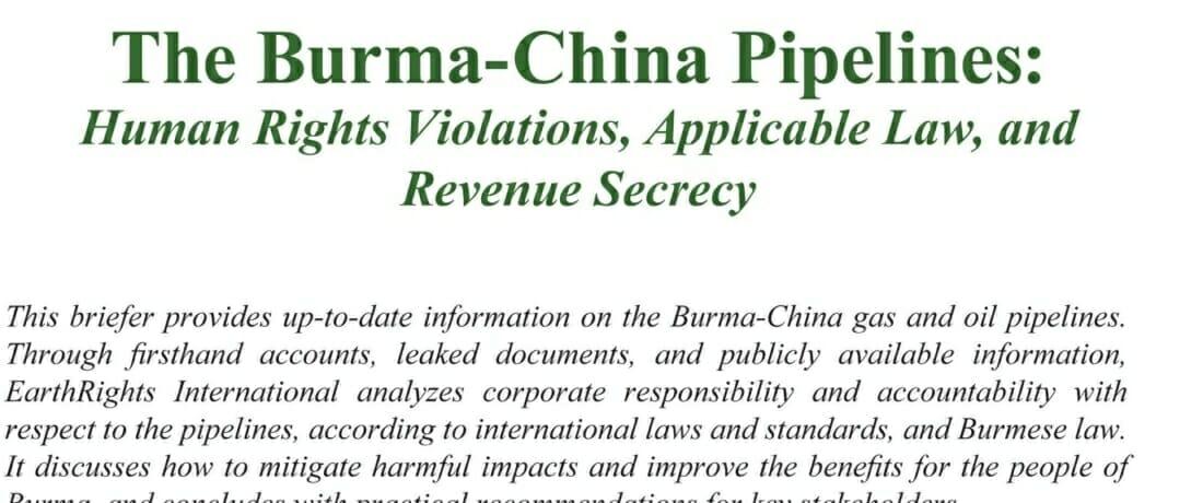 The Burma-China Pipelines