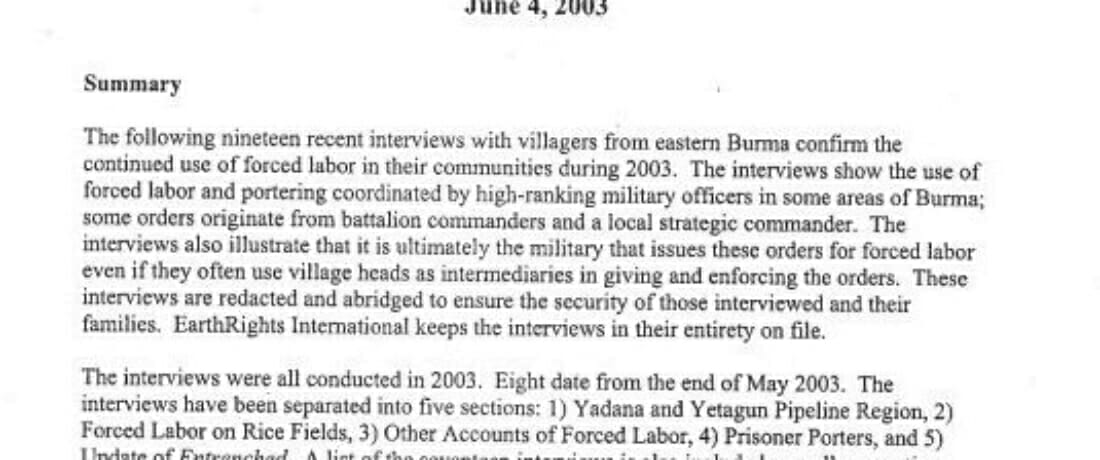 Report on Forced Labor in Burma (2003)
