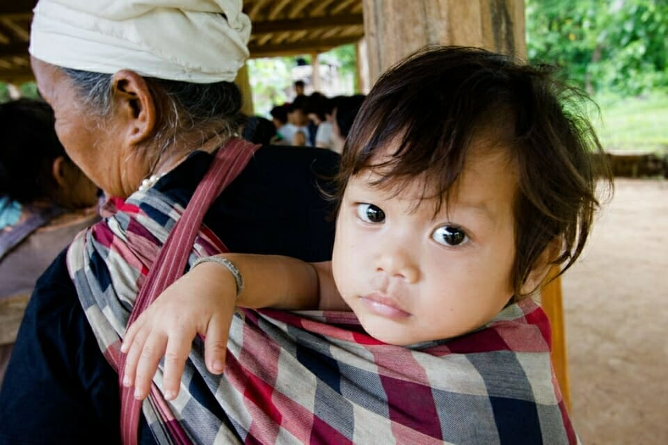 When the parents come to community meeting, they always bring the children.  Growing up with this tradition, the children naturally absorb how Karen communities emphasize working together.