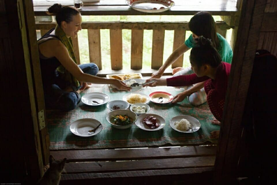 EarthRights School Mekong students and one of their teachers, Nikki, got a very warm welcome when they finally arrived Sob Moie village. They stayed with the local host.   One day, the villager shared fish that was caught from the Salween. It was delicious!