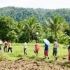 The students walked around the village and rice fields to learn about irrigation system in community agriculture.