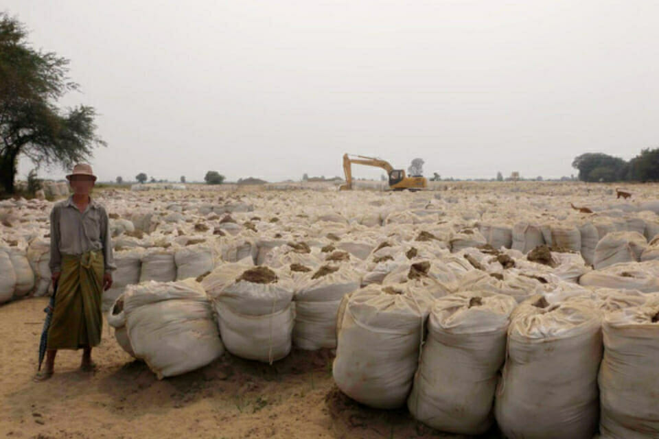 Yenanchaung Township, Magway Division.  Land Use Without Adequate Compensation.  MOGE and an unidentified Chinese company use sandbags to support pipelines above ground before being connected, placed underground, and covered with soil.  In April 2012, in the southern part of Khon Su village, Pwint Phyu Township, Magway Division the preparation area for the pipeline greatly exceeded the originally defined area and the stacking of sandbags covered this villager's entire land contrary to previous agreements. This villager received compensation for the originally defined area but received no compensation for the additional land used by the companies. Companies paid some compensation for damages to crops in the originally defined area; however this compensation only provided payments for one growing season per year instead of the traditional three growing seasons per year.