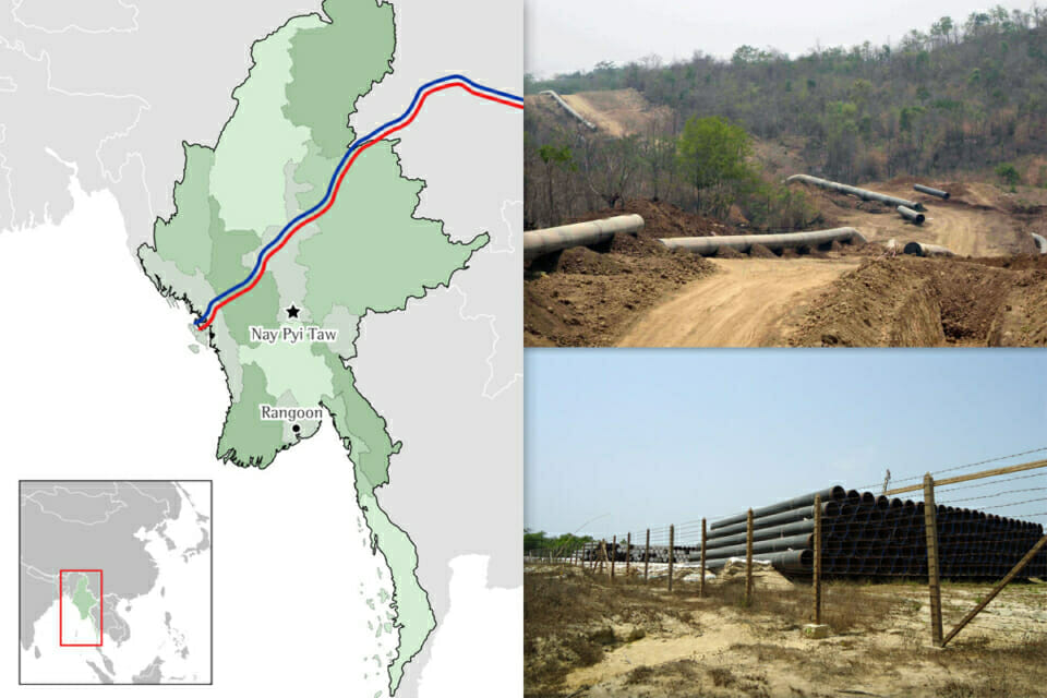 The Shwe natural gas and Myanmar-China oil transport projects. The pipelines will traverse sensitive marine ecosystems, dense mountain ranges, arid plains, rivers, jungles, villages and towns populated by ethnic Burmans and several ethnic nationalities along the pipeline's path, over 700km, from Rakhine (Arakan) State through Magway and Mandalay Divisions, and northeast through northern Shan State to Yunnan, China. Resources transported through these pipelines will benefit consumers and industry in Yunnan and other western provinces in China and will supply the Myanmar government with multi-billion dollar revenues; little gas and no oil will be directed for domestic consumption in Myanmar.