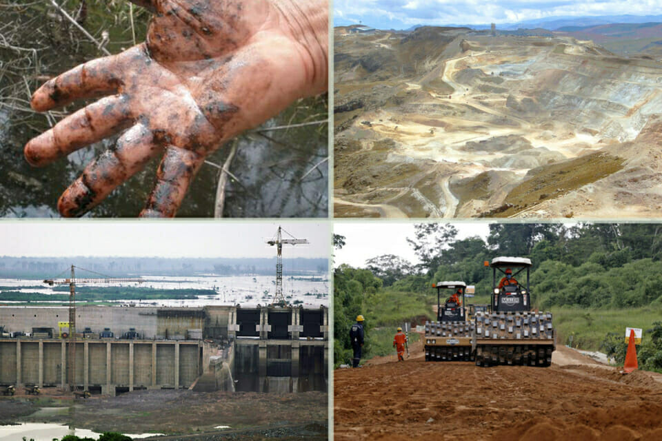 Devastating Impacts on Human Rights & the Environment.  Development projects in the Amazon and Andes regions have a wide range of horrific impacts on local communities.   (Clockwise, from upper left):  Water supplies contaminated by toxic runoff from oil wells can both devastate local agriculture and cause cancer and other illnesses to sweep through a community. These illnesses affect young and old, and the contamination will last for generations. Mining projects often destroy the land and pollute the water of nearby communities, and the mine workers often endure horrible working conditions, including exposure to toxins that lead to chronic illnesses and death. Highway and logging projects disrupt local ecosystems and bring disease, confrontation and conflict to isolated indigenous groups. Hydropower dams often lead to deforestation, disruption of vital fisheries, and displacement of local communities. All of these projects occur against a complex political backdrop that often discourages local groups from taking a stand. Depending on their location, communities and activists may find themselves facing off against government corruption, police violence, covert threats and intimidation, and overwhelming political power. Building the legal and advocacy capacities in these communities is essential to their future.