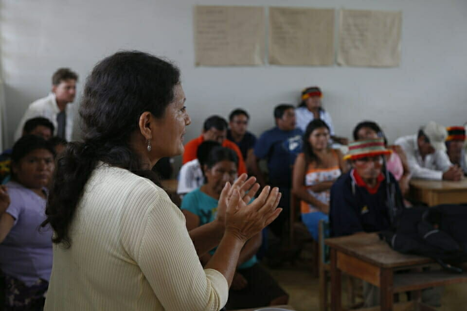 Building Legal Capacity in Indigenous Communities.  To boost the ability of indigenous groups in the Amazon to protect their human rights, we regularly conduct training sessions for indigenous activists, lawyers and judges. These trainings enhance their understanding of and ability to use Peruvian law and international law to address the impacts of oil extraction and mega-infrastructure projects in their territories.  In this photo from an Achuar village, Lily, our Senior Amazon Counsel, discusses the health and environmental impacts of oil extraction in northern Peru.