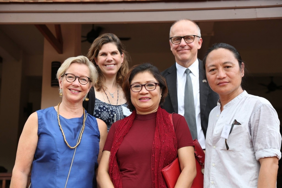 Swedish Ambassador Staffan Herrström and Naw Susanna Hla Hla Soe, founder of Karen Women Action Group and member of Myanmar's NLD, with ERI co-founders Katie Redford and Ka Hsaw Wa.