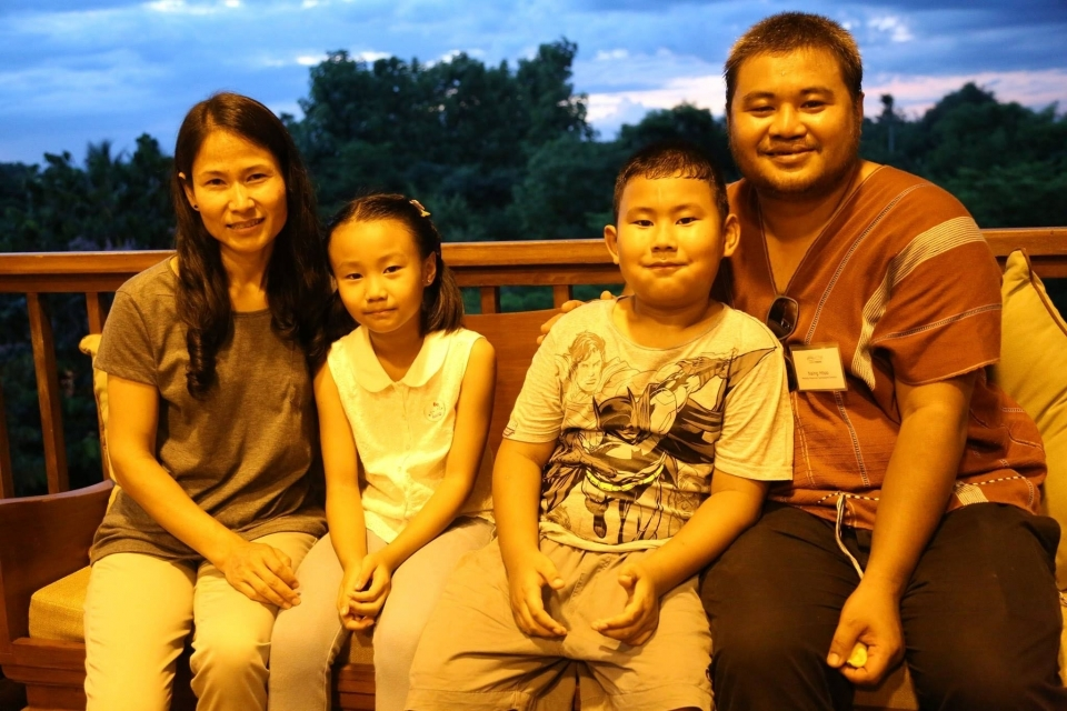 Mekong-Myanmar Campaigns Director Naing Htoo brought his family to see the new building.