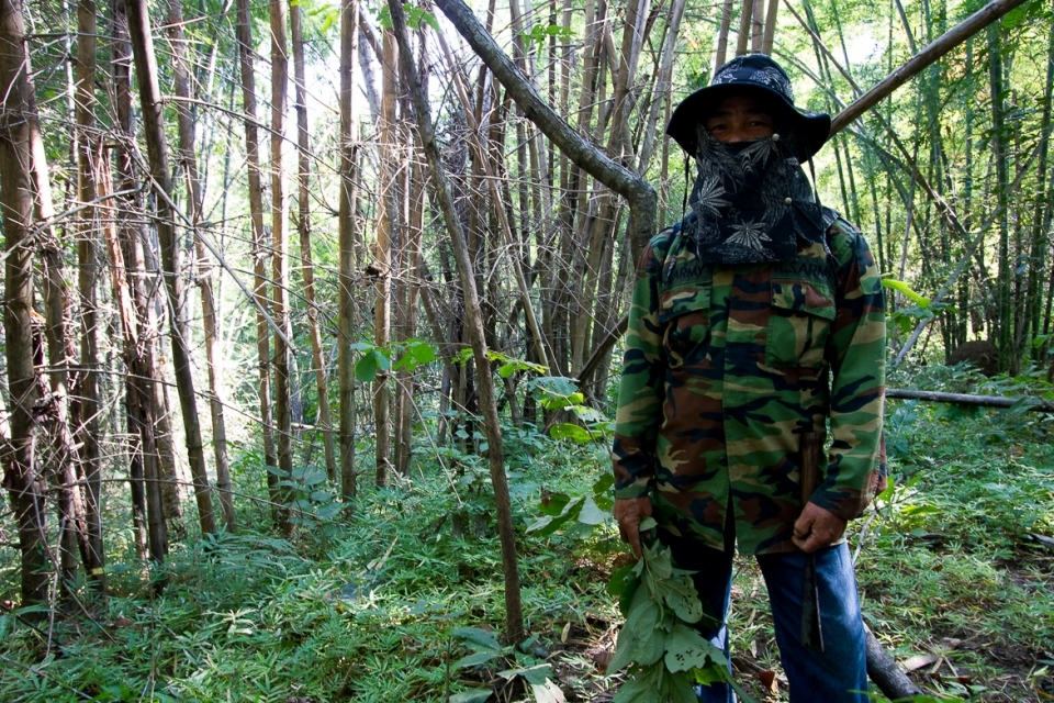 Uncle Cherd, leader of the community forest conservation group, collects all kind of medicinal plants, mushrooms and herbs.