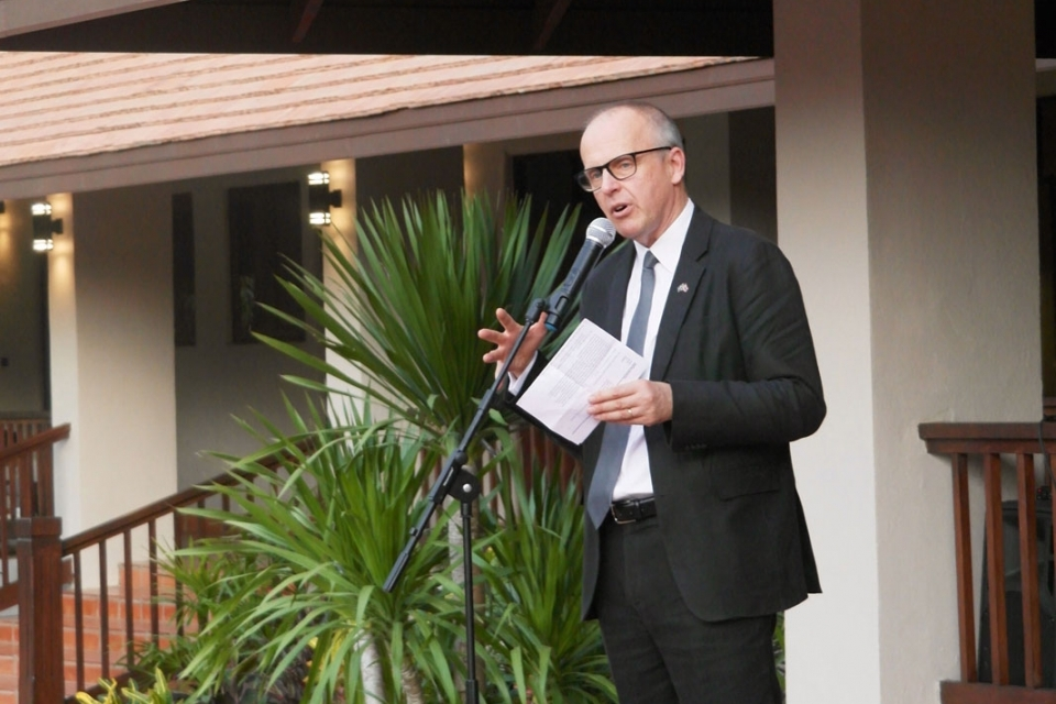 Staffan Herrström, Swedish Ambassador to Thailand, Lao PDR, and Myanmar shares his support with the crowd.