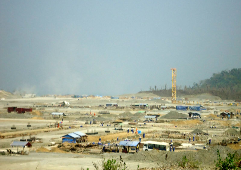 Construction of the onshore gas terminal on Ramree Island, May 2012
