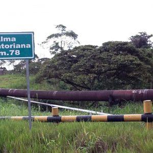 An oil pipeline near Lago Agrio, Ecuador