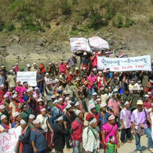 Karen villagers protest the damming of the Salween River