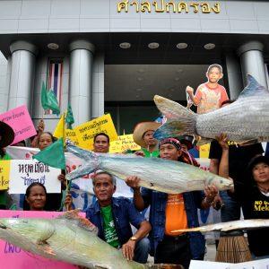 Thai villagers protesting the Xayaburi dam