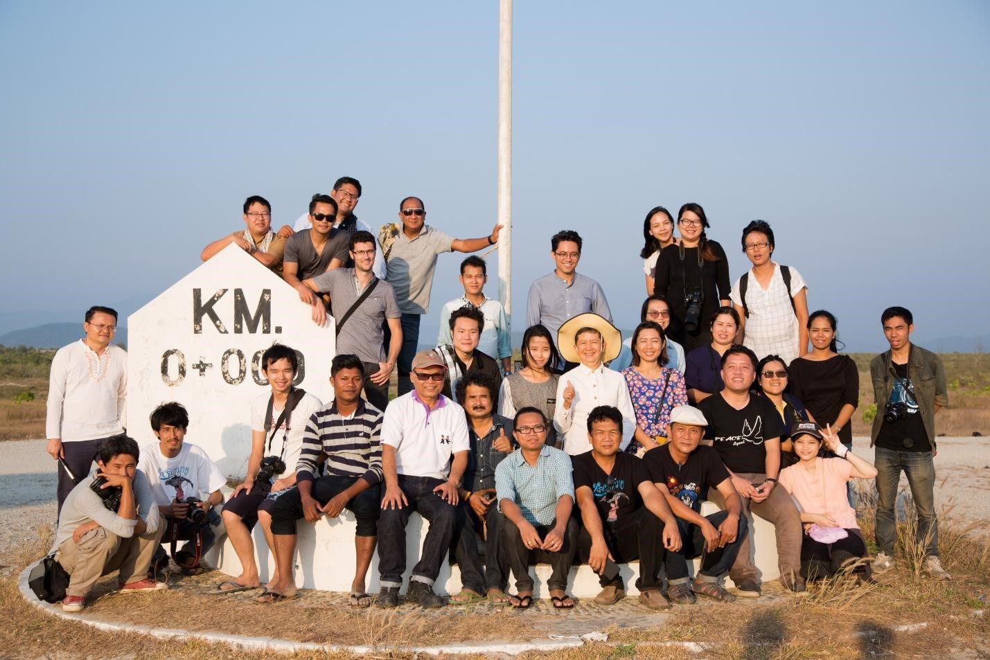At 0 km, this is where Dawei SEZ starts. Behind the group is the location of ITD's company and its concession. Members of the NHRC, CSOs and media traveled together to the Dawei. SEZ