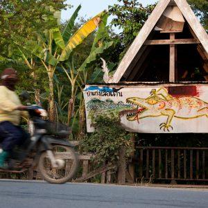 A sign protesting the dam at Kaeng Seua Ten
